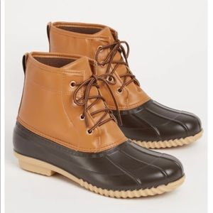 Shoes - New Women's Navy Faux Leather Duck Boots